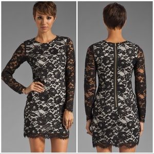 Theory Galician Marique Floral Black Lace Dress